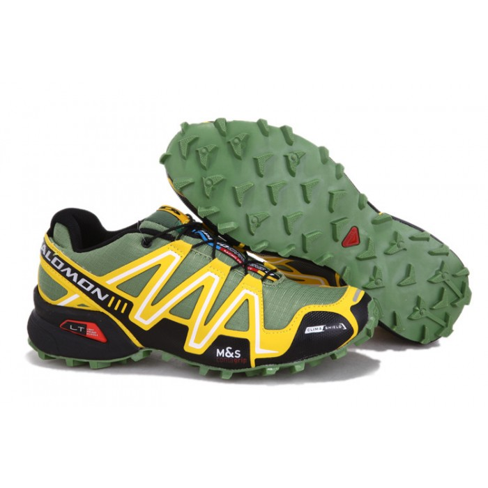 Men's Salomon Speedcross 3 CS Trail Running Shoes In Army Green Yellow