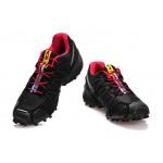 Men's Salomon Speedcross 3 CS Trail Running Shoes In Black Red