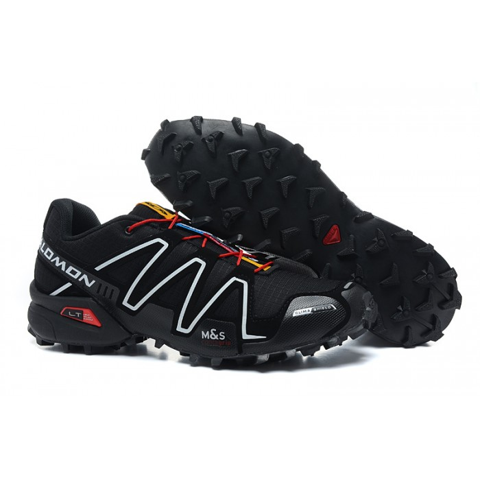 Men's Salomon Speedcross 3 CS Trail Running Shoes In Black White Red