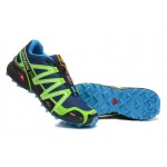 Men's Salomon Speedcross 3 CS Trail Running Shoes In Blue Fluorescent Green
