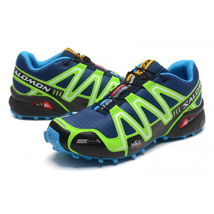 Men's Salomon Speedcross 3 CS Trail Running Shoes In Blue Fluorescent Green