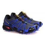 Men's Salomon Speedcross 3 CS Trail Running Shoes In Blue Grey