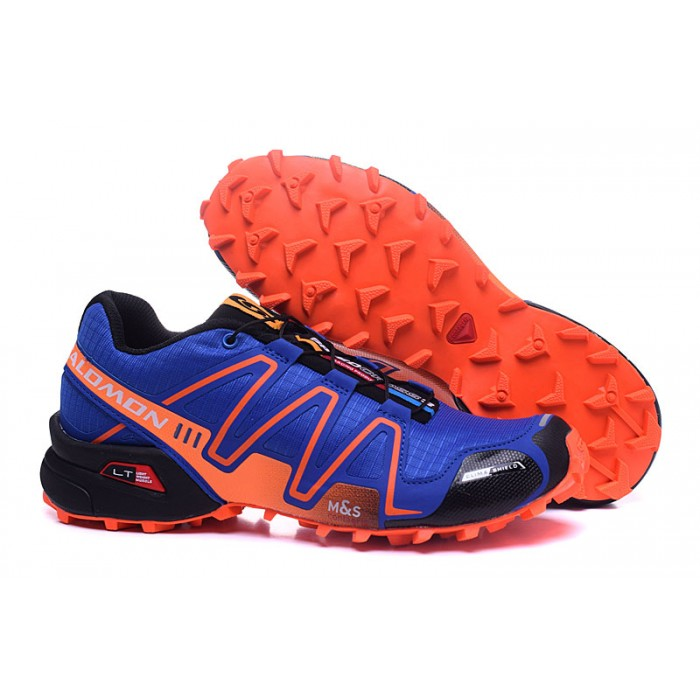 Men's Salomon Speedcross 3 CS Trail Running Shoes In Blue Orange