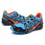 Men's Salomon Speedcross 3 CS Trail Running Shoes In Blue Orange Silver