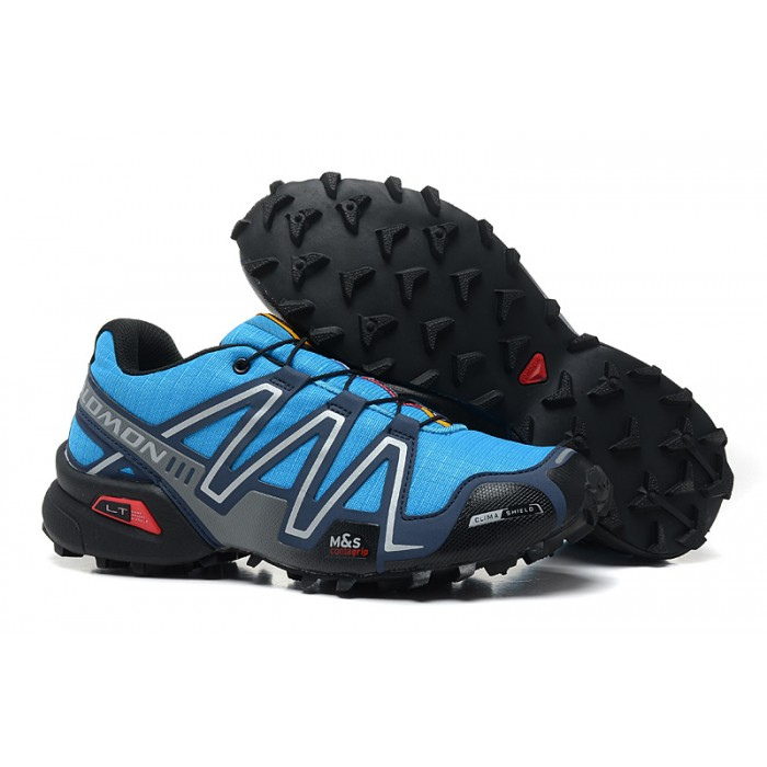 Men's Salomon Speedcross 3 CS Trail Running Shoes In Blue Silver