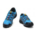 Men's Salomon Speedcross 3 CS Trail Running Shoes In Blue Silver