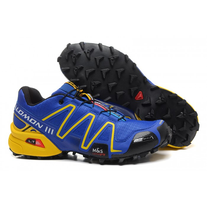 Men's Salomon Speedcross 3 CS Trail Running Shoes In Blue Yellow