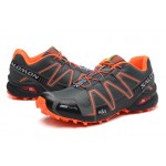 Men's Salomon Speedcross 3 CS Trail Running Shoes In Deep Gray Orange