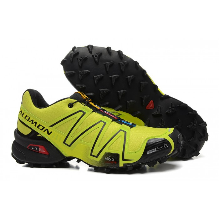 Men's Salomon Speedcross 3 CS Trail Running Shoes In Fluorescent Green Black