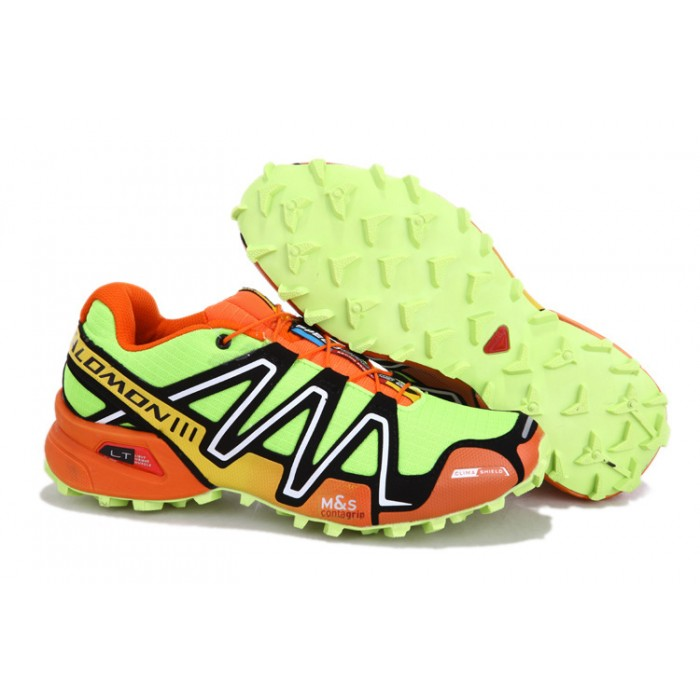 Men's Salomon Speedcross 3 CS Trail Running Shoes In Fluorescent Green Orange