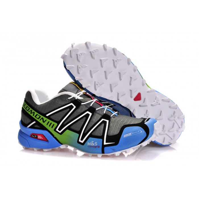 Men's Salomon Speedcross 3 CS Trail Running Shoes In Grey White Blue