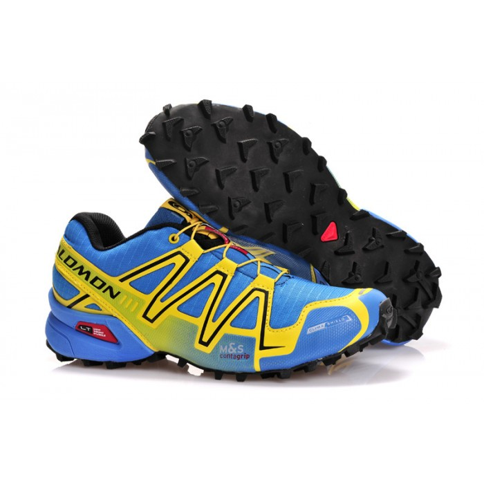 Men's Salomon Speedcross 3 CS Trail Running Shoes In Light Blue Yellow