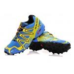 Men's Salomon Speedcross 3 CS Trail Running Shoes In Light Blue Yellow