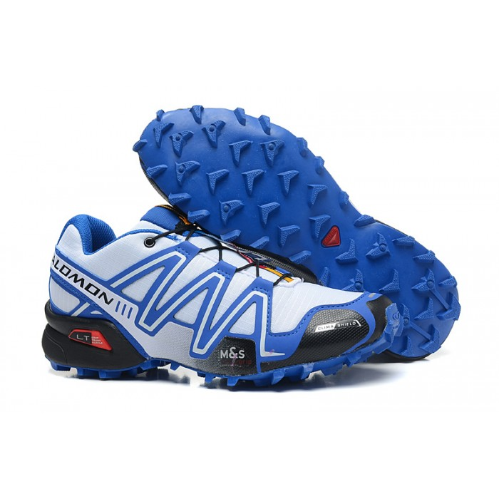 Men's Salomon Speedcross 3 CS Trail Running Shoes In White Blue