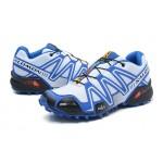 Men's Salomon Speedcross 3 CS Trail Running Shoes In White Blue