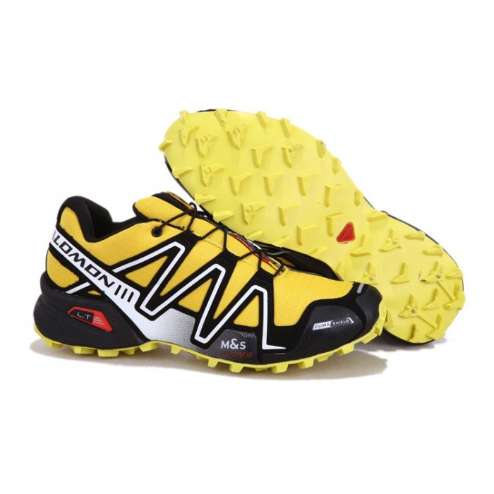 Men's Salomon Speedcross 3 CS Trail Running Shoes In Yellow Silver