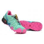 Women's Salomon Speedcross 3 CS Trail Running Shoes In Blue Green Pink