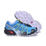 Women's Salomon Speedcross 3 CS Trail Running Shoes In Blue Yellow Black