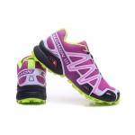 Women's Salomon Speedcross 3 CS Trail Running Shoes In Purple Fluorescent Green
