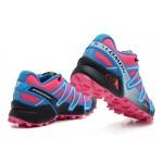 Women's Salomon Speedcross 3 CS Trail Running Shoes In Sky Blue Rose Red