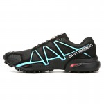 Men's Salomon Speedcross 4 Trail Running Shoes In Black Blue