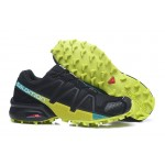 Men's Salomon Speedcross 4 Trail Running Shoes In Black Fluorescent Green