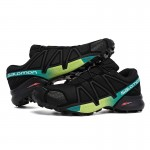 Men's Salomon Speedcross 4 Trail Running Shoes In Black Yellow Green
