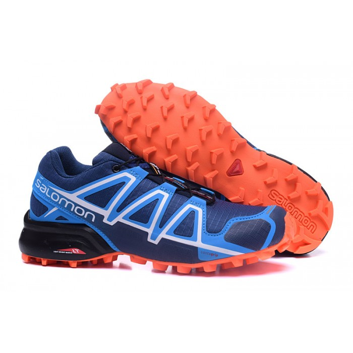 Men's Salomon Speedcross 4 Trail Running Shoes In Blue Orange