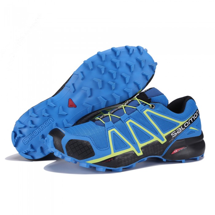 Men's Salomon Speedcross 4 Trail Running Shoes In Blue Yellow