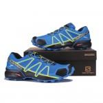 Men's Salomon Speedcross 4 Trail Running Shoes In Blue Yellow