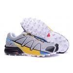 Men's Salomon Speedcross 4 Trail Running Shoes In Gray Yellow