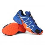 Men's Salomon Speedcross 4 Trail Running Shoes In Orange Blue