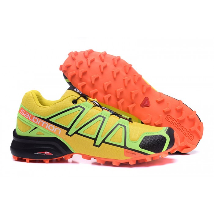 Men's Salomon Speedcross 4 Trail Running Shoes In Yellow Orange