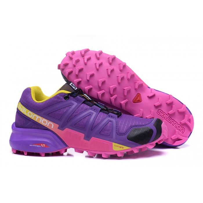 Women's Salomon Speedcross 4 Trail Running Shoes In Purple Rose Red