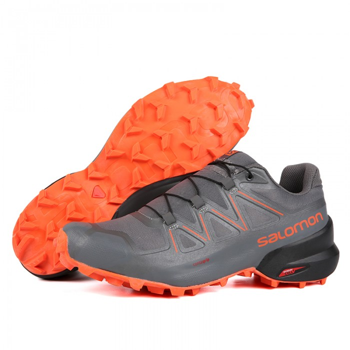 Salomon Speedcross 5 GTX Trail Running Shoes In Orange Gray