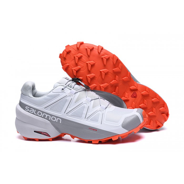Salomon Speedcross 5 GTX Trail Running Shoes In White Grey