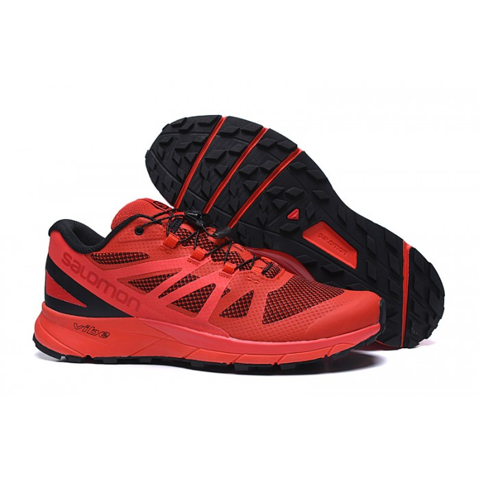 Salomon Vibe Trail Runners Sense Ride Shoes In Red Black